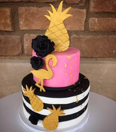 Super cute pineapple themed cake with pink, gold and black and white stripes @flourshoptx