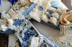 lovely vintage laces and trims in blues, whites, creams: (Faith, Grace, and Crafts)