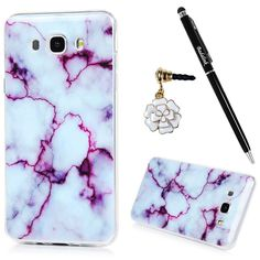 Badalink Galaxy Case Shockproof Drop Protection Soft TPU Bumper Protective Back Cover Flexible Colorful Marble Texture Series Slip Resistant Slim-Fit Cover for Samsung Galaxy - Purple Marble Texture, Christmas Tree Toppers, Flexibility, Samsung Galaxy, Drop, Slim, Colorful, Purple, Cover