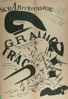 By F. T. Marinetti,  1919, Les Mots en Liberté Futuristes (Futurist Words in Freedom), Milan, Italy.