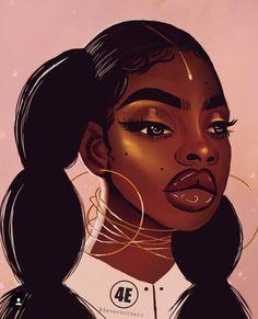 Pinterest Yasssrayray Black Power, Black Art Pictures, Afro Art, Dope Art, African Art, African American Artwork, African Beauty, Black Girl Cartoon, Black Girl Art