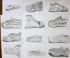 Upper School Art (Grades 7-12): Shoe Drawings Grade 7 Art