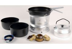 Trangia Ultralight Non Stick Stove Kit by Trangia. Trangia Ultralight Non Stick Stove Kit. Trangia Stove, Camping Water, Gas Dryer, Spiritus, Camping Stove, Camping Equipment, Camping Gear, Packing Light, Old Antiques