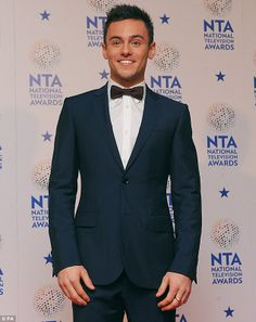 Tom Daley wearing Burberry to the 2014 National Television Awards