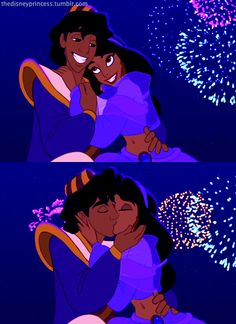 Aladdin & Jasmine. Aw they form hearts with their faces arms and aw