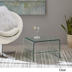 Ramona Transparent Glass End Table with Shelf by Christopher Knight Home, Clear