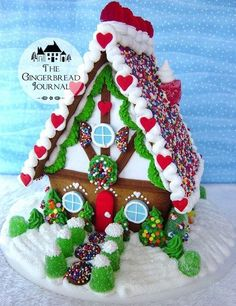 Gingerbread House with snowbankswm-www.gingerbreadjournal.com
