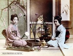 Two women in kimono are practicing Ikebana (traditional Japanese flower arrangement). The woman on the left is making an arrangement in a square vase, while the other woman is using a round one. Flowers yet to be arranged are kept on a tray, while a pot with water is kept near the knees of the woman on the right.