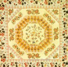 Pieced & Applique Crib Quilt Medallion Broderie Perse 1830-1840 New York