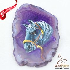 Hand Painted Horse Agate Slice Gemstone Necklace Pendant Jewlery D1706 1614 #ZL #Pendant