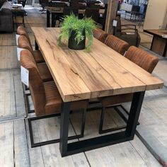 dining room table ideas Rustic Dining Table Ideas Best For Farmhouse Home Design Recommended vaccine Wood Slab Dining Table, Diy Dining Room Table, Plank Table, Dining Table Design, Modern Dining Table, Reclaimed Wood Dining Table, Rustic Wood Dining Table, Dining Rooms, Small Dining