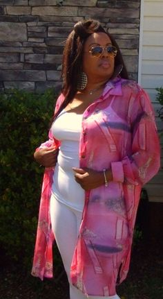 Pink, purple, and White Plus Size Sheer Long Top, Size 2x by Maggie Sweet #MaggieSweet #ButtonDownShirt