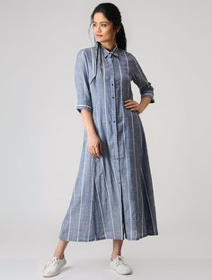 Buy SHEEN Blue Striped Cotton Shirt Style Kurti online in India at best price. Simple Kurti Designs, Kurta Designs Women, Kurti Neck Designs, Kurti Designs Party Wear, Lehenga Designs, Frock Style Kurti, Shirt Style Kurti, Modest Dresses, Stylish Dresses