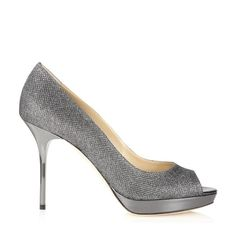 Jimmy Choo Luna in anthracite glitter leather  695 Peep Toe Shoes d2ca9665673
