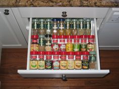 Spice Cabinet organization Spice Rack Organization, Kitchen Organization, Kitchen Storage, Storage Organization, Declutter, Organize, Spice Racks, Home Comforts, Home Gadgets