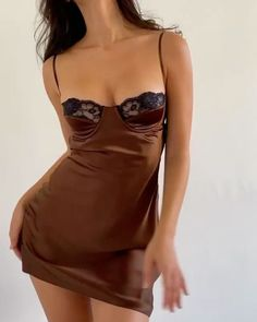 Dance Dresses, Satin Dresses, Elegant Dresses, Cool Outfits, Casual Outfits, Fashion Outfits, Brown Outfit, Silk Slip, Lounge Wear