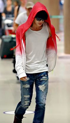 Kim Jae Joong --- street style...ombre/dip dye hoodie and distressed jeans