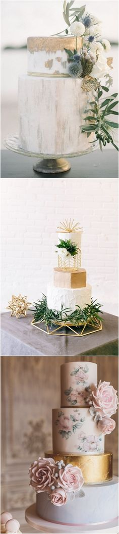 Metallic wedding cakes for 2018 #wedding #weddingcakes #weddingideas