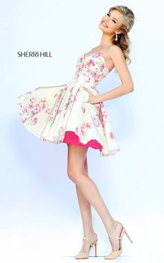 Sherri Hill 32246 Pink PrinFloral Party Dress2015