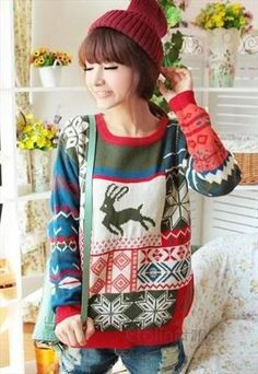 Christmas Jumper Snow Flake Reindeer Jumper Sweater
