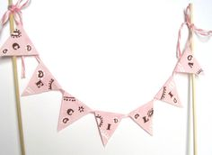 Cowgirl Birthday Cake Bunting customized with Name - Pink Brown Girls Birthday Party, Western Cowgirl theme, Pink Bandana (Handmade)