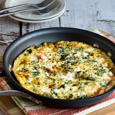 This Greek Frittata with Zucchini, Tomato, Feta, and Herbs is a delicious easy Meatless Monday breakfast that's low-carb and gluten-free.
