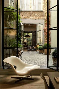 brick + factory french doors