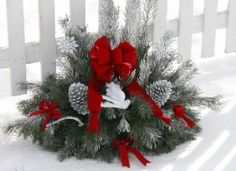 Beautiful grave pillow for holiday cemetery decorating.