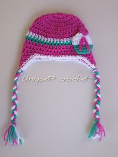 Personalized Crochet Earflap Hat for Babies and by UniquePcrochet,