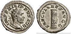 AR Antoninianus, special issue celebrating the thousandth anniversary of Rome, Romam Coin, Roman Empire, Philippus I. Arabs 244-249. 248 AD. 4,61g. RIC 71, 24c. EF. Price realized 2011: 180 USD.