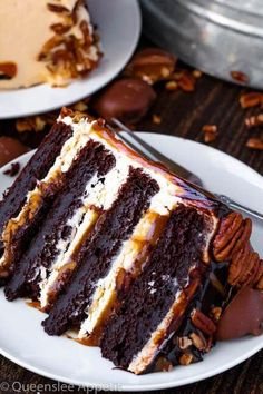 This Turtle Chocolate Layer Cake starts with rich decadent and moist chocolate cake layers that are filled with a caramel pecan sauce and covered in a smooth caramel frosting then finished off with a caramel and ganache drip and chopped pecans! Layer Cake Recipes, Easy Cookie Recipes, Cheesecake Recipes, Dessert Recipes, Cake Filling Recipes, Easy Recipes, Food Cakes, Cupcake Cakes, Simply Yummy