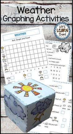 Students love creating this weather themed learning cube and using it for the graphing activities! To add to the fun there is a weather themed poetry word search. Find this and more weather themed fun at Lets Learn Smore Teachers Pay Teachers store! #weather #math #graphing #kindergarten #poetry