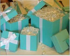 Table decorations for Tiffany & Co theme