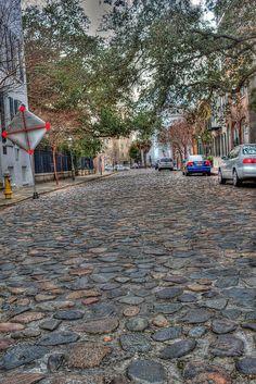 cobblestone street in Charleston