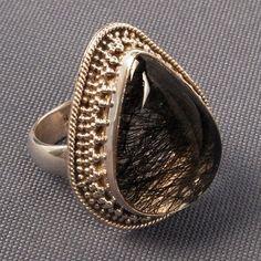 Silver Black Rutile Ring