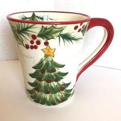 "2006 ""Noel""  Burton+Burton Large Hand Painted Red And Green Coffee Mug Tea Cup"