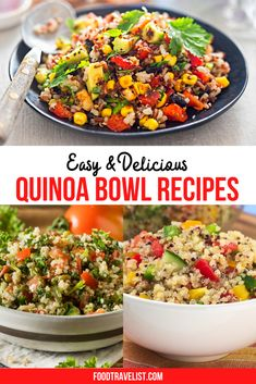 If you're looking for a healthy recipe quinoa bowls are a great place to start. You can customize your quinoa bowl with your favorite ingredients. Make them for breakfast, lunch or dinner. It's easy to make them vegan or vegetarian, too. #quinoabowl #quinoabowlrecipes