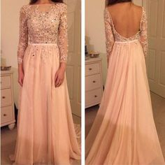 long Prom Dress, blush pink Prom Dress, backless Prom Dress, long sleeves prom…