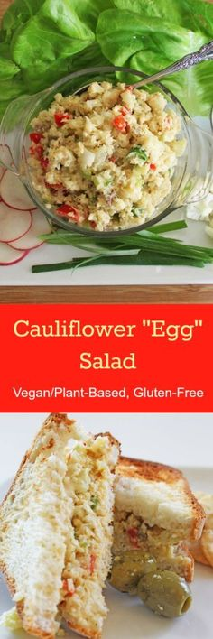 "This Cauliflower ""Egg"" Salad is vegan and gluten-free. It tastes, feels, and chews just like the classic! Great as a sandwich, wrap, or served on your favorite greens. Check out the recipe on http://www.nutritionicity.com/recipes/recipe-cauliflower-egg-salad-vegan-gluten-free/"