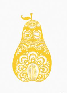 Image of Poster Folkloric pear yellow