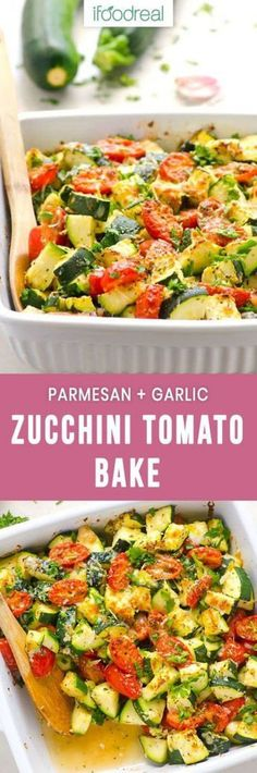 Healthy Zucchini Bake Recipe with tomatoes, dried herbs, Parmesan cheese and garlic. Serve as a side zucchini tomato casserole or add cooked chicken for a quick complete low carb dinner. (recipes for cooked chicken lunches) Healthy Family Meals, Healthy Recipes, Vegetable Recipes, Real Food Recipes, Healthy Snacks, Vegetarian Recipes, Healthy Eating, Cooking Recipes, Family Recipes