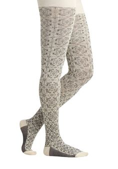Cozy Country Home Tights by Tabbisocks - White, Print, Fall, Winter, Best, Grey