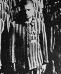 Dutch Jew stands on Apellplatz in Buchenwald concentration camp