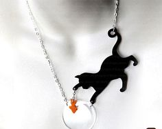 Black Cat Earrings Cat and Fish Perspex Earrings by SugarJonesUK