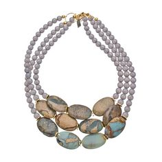 K. Amato Jasper and Gray Triple Beaded Necklace ($120) ❤ liked on Polyvore