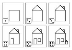 Dice game : numbers & parts of the house Kindergarten Inquiry, Kindergarten Crafts, Preschool Learning Activities, Preschool Math, Preschool Worksheets, Fun Learning, Story Sequencing, Building Drawing, Home Themes