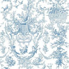 York Wallcoverings Old World Toile Wallpaper, Blue/White