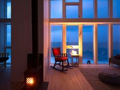 There's nothing better than curling up by your own personal woodstove at Fogo Island Inn after a day spent exploring the winter landscape. fogoislandinn.ca Fogo Island Inn, Luxury Rooms, Winter Landscape, Newfoundland, Design Elements, Vacation, Curling, World, Places