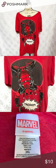 "🔴Marvel Deadpool TACOS Red Tee 3XL Marvel Deadpool TACOS Red Tee 3XL NWOT.                              Measurements Laying Flat Size 🔹 3XL Armpit to Armpit 🔹23"" Shoulder to Hem 🔹29"" Bundle to Save 🤓 Sorry NO outside transactions 🚫 NO trades 🚫 Reasonable Offers welcomed 👍 NO Low balling 👎 NO modeling 👎 NO Holds👎 All items from a pet 😼and Smoke Free Home  Happy Poshing 🤗 Marvel Tops Tees - Short Sleeve"