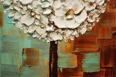 ORIGINAL blanco flores piruleta árbol abstracto por ModernHouseArt